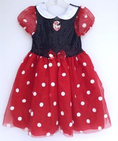 Size 6-6X Minnie Mouse Disney Store Dress Costume Girls Pretend Play #Disney #Dress