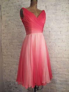 '50's Cecil Chapman Chiffon Dress