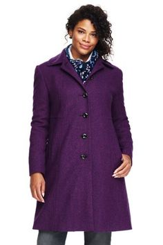 dc7837d8bf7ff Women s Plus Size Wool A-line Coat from Lands  End