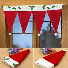 Christmas Curtain Panel Christmas Hat Decorative Door Window Drape Home Decor Office Christmas, Christmas Mom, Christmas Scenes, Christmas Design, Christmas Projects, Handmade Christmas, Holiday Crafts, Christmas Ornaments, 242