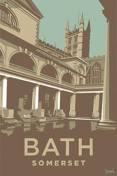 Bath (SR09) Travel Print http://www.thewhistlefish.com/product/bath-print-by-steve-read-p-sr09 #bath #somerset