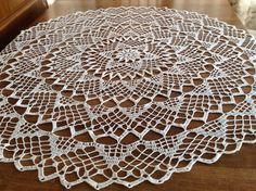 Sunrise Doily Tablecloth Crochet White Flower by Jenscraftsetc