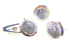 Tie Clip Cuff Link Set Chrome Toyota Wheels Motif In Original Box Car Automobile Advertising Collectibles by hipcricket on Etsy