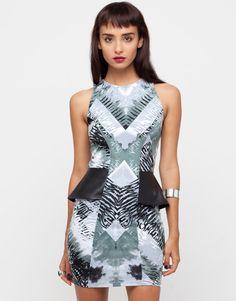 Printed bodycon Motel pleather peplum dress in our black and white Batik tie-dye print.   W<3<3<3<3W!  #MotelWinning