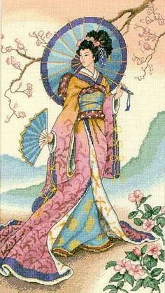 Thrilling Designing Your Own Cross Stitch Embroidery Patterns Ideas. Exhilarating Designing Your Own Cross Stitch Embroidery Patterns Ideas. Counted Cross Stitch Patterns, Cross Stitch Charts, Cross Stitch Designs, Cross Stitch Embroidery, Embroidery Patterns, Art Asiatique, Japanese Art, Japanese Geisha, Asian Art
