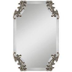 Uttermost Andretta Rococo Burnished Antique Silver Frameless Mirror