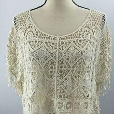 India Boutique Women's White Lace Boho Hippie Drape Shirt One Size | eBay