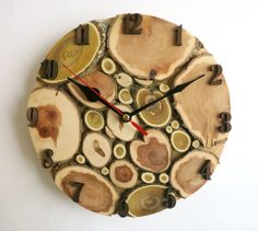 Wall clock, natural tree slice wall wooden clock, Reclaimed Materials, Decor and Housewares, Rustic Home Decor (8 inches) (N8)