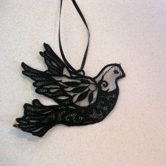 Black Bird Embroidered Lace Dove (idea for tattoo?)