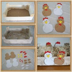 Little crate for Easter Lolo's little decorations Science Experiments For Preschoolers, Activities For Kids, Happy Easter, Easter Bunny, Happy Penguin, Diy And Crafts, Crafts For Kids, Chicken Bird, Farm Theme