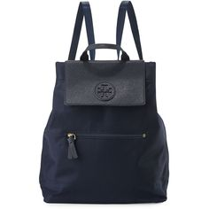 Tory Burch Ella Packable Backpack ($235) ❤ liked on Polyvore featuring bags, backpacks, tory navy, nylon pouch, navy blue backpack, tory burch backpack, navy backpack and backpack pouch