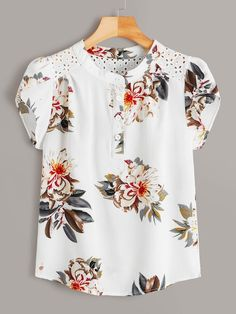 To find out about the Eyelet Embroidered Floral Print Blouse at SHEIN, part of our latest Blouses ready to shop online today! Floral Tops, Floral Prints, Petal Sleeve, Chiffon Blouses, Printed Blouse, Types Of Sleeves, Blouse Designs, Sleeve Styles, Blouses For Women