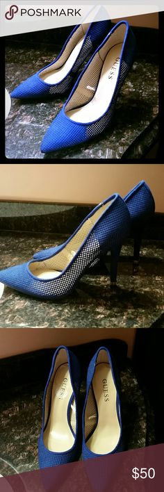 NWOT Royal blue super hot suede mesh stilettos.S.7 NWOT GUESS Royal blue SUPER HOT suede mesh stilettoes (4 inches). Very elegant and sophisticated. Excellent for the summer . Size 7 Guess Shoes Heels