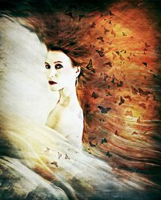 Title In Dreams.  Portrait of a woman with flowing by SpokeninRed, $44.00