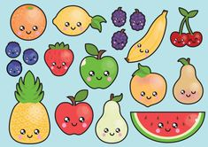 Clipart de haute qualité de vecteur. Joli fruit vector clip art. Ensemble kawaii fruits clipart. Clipart kawaii ! Cet ensemble dispose de