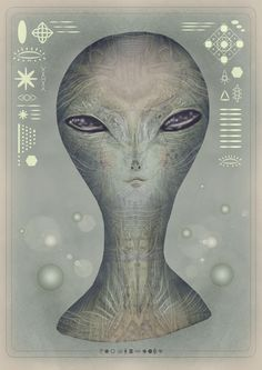 The Greys by V L A D I M I R , via Behance. The eyes are animated!  #alien #animatedgif #art #gif #extraterrestrial