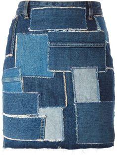 Comprar Saint Laurent falda denim en patchwork en O' from the world's best…