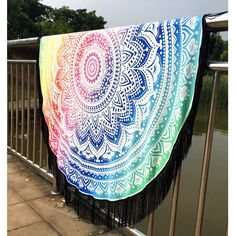 $9.21 Mandala Lotus Lotus Printed Long Fringe Round Beach Towel
