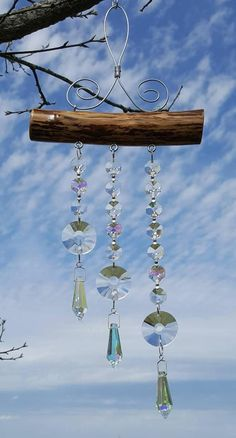 Sunshine and Icicles Suncatcher Driftwood Crafts, Wire Crafts, Bead Crafts, Fun Crafts, Mobiles, Diy Wind Chimes, Wine Cork Crafts, Suncatchers, Peace And Love