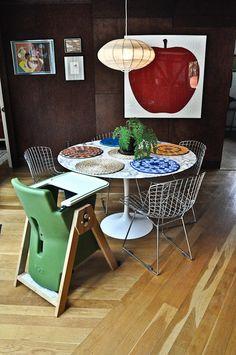 la Mela and la Pera Prints by Enzo Mari with a Hi-Lo chair by Age Design