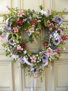 Valentines Day Floral Heart Door Wreath - Spring - Grapevine - Lavender, Pink