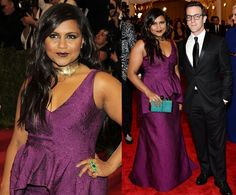Mindy Kaling went glam and a little goth at the punk themed 2013 Met Gala on Monday night, wearing a deep purple custom Lela Rose gown with peplum detail and accessorizing with a gold collar, statement rings and a studded clutch.