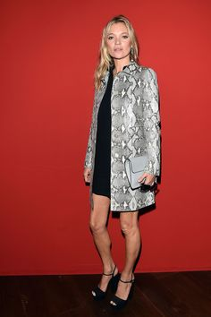 Kate Moss in python print on Gucci's front row.