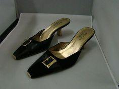 Pre Owned Gucci Black Suede Leather Kitten Heel Mule Slide Gucci ...