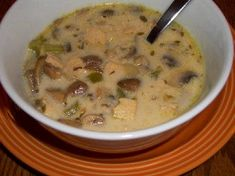 Recipe for Leftover Turkey, Mushroom and Wild Rice Soup from Kalyn's Kitchen  #LowGlycemicRecipe