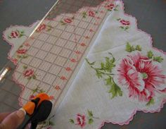 Crafts With Vintage Hankies | Fold the hankie in half and press with an iron. Cut the hankie ½ inch ...