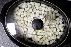 Perfect slow cooker chicken stock - chicken wings + onion + garlic + water + salt