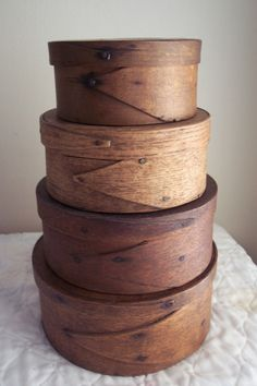 C 1800's Stack of Thick Walled Pantry Boxes Lapped Fingers Patina . ~♥~