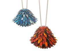 Turquoise and Red Enamel Pendants