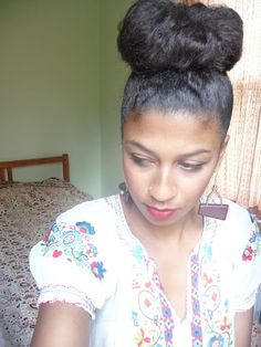 Natural hair - the high bun.