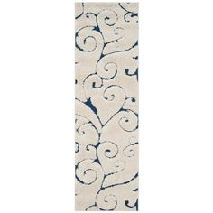 Florida Shag Cream/Blue (Ivory/Blue) 2 ft. 3 in. x 9 ft. Runner