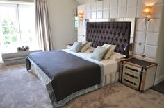 Dark purple bedroom with leather trunk bedside table Dark Purple Bedrooms, Interior Design Studio, Contemporary Bedroom, Bedside, Geneva, Table, Projects, Furniture, Leather