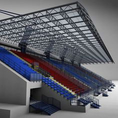 Buy Stadium Sport Soccer Tribune High detail by on Low and High poly model of stadium seating tribune. Section Drawing Architecture, Architecture Plan, Apartment Plans, Landscape Design, Facade, Stairs, Real Estate, Business Flyer, Marketing