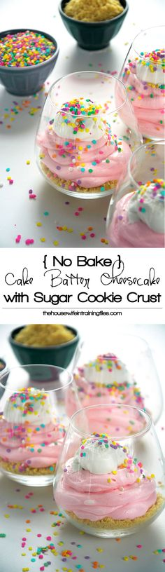 An easy, no bake cake batter cheesecake is healthy and simple to make with greek yogurt, low fat cream cheese, sprinkles and a buttery sugar cookie crust! Summer or hot day dessert Cake Batter Cheesecake, Cheesecake Recipes, Dessert Recipes, Cheesecake Bites, Lemon Cheesecake, Just Desserts, Delicious Desserts, Yummy Food, Buttery Sugar Cookies