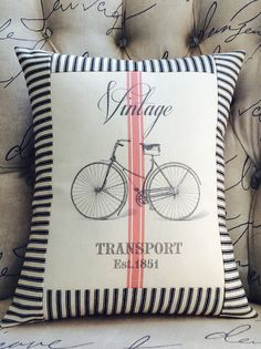 Vintage Bicycle French Red Grain Sack Pillow by sherrisboutique