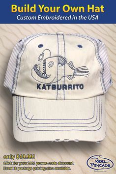a5b02852 Angler fishing hat. I was able to choose my own styles and colors.  Embroidered