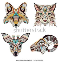 Set of Abstract Vector tattoo illustrations. Fox, lynx, roe and ram ethnic patterned totem. Lynx, Totem Pole Tattoo, Totem Pole Art, Animal Body Parts, Fox Drawing, Art Reference Poses, Free Vector Art, Colorful Pictures, Clipart