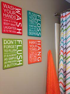 Cute Artwork For Kids Bathroom