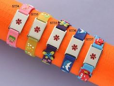 Cute medical id bracelets ... too bad my son won't tolerate jewelry.