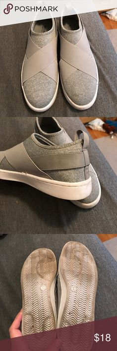 Grey Slip On Sneakers Grey fabric sneakers. Elastic criss cross straps and one leather strap on the back. Worn twice. Dirty on the bottoms but not worn down. One light spot on the toe shown in the last picture. Hardly noticeable. Fit true to size. Mossimo Supply Co. Shoes Sneakers