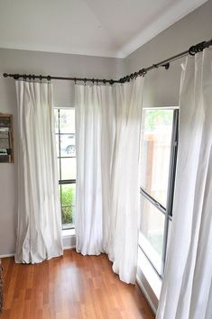 How to Make No-Sew Bleached Drop Cloth Curtains &; Our Handcrafted Life How to Make No-Sew Bleached Drop Cloth Curtains &; Our Handcrafted Life MaKayla Terlouw makaylarenae My Doolittle home ❤️ How […] Room curtains Farmhouse Style Curtains, Farmhouse Windows, Farmhouse Curtain Rods, Curtains Living, Diy Curtains, Drop Cloth Curtains Outdoor, Sewing Curtains, Homemade Curtains, Luxury Curtains