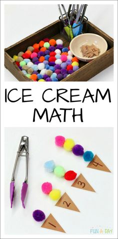 Math That's Perfect for a Preschool Ice Cream Theme Ice Cream Numbers - preschool summer math that explores fine motor skills, counting, one-to-one correspondence, and more early math skills Preschool Learning Activities, Preschool At Home, Preschool Lessons, Preschool Crafts, Montessori Preschool, Montessori Elementary, Preschool Education, Kindergarten Counting, Math Crafts