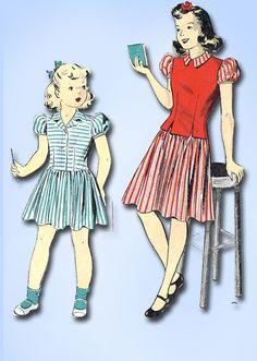 1940s Vintage Du Barry Sewing Pattern 2714 WWII Girls Dress and Jerkin Size 14