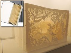 """Just goes to show that a lot of creativity can transform even the most-simple office supply into a gorgeous work of art.  A """"tunnel book"""" by artist Andrea Dezso, as seen at Nancy Margolis Gallery in NYC."""