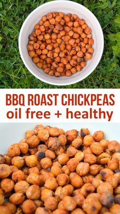 BBQ Roast Chickpeas are high in protein and fiber. Made without any oil and the perfect healthy alternative to crisps BBQ Roast Chickpeas are high in protein and fiber. Made without any oil and the perfect healthy alternative to crisps Chickpea Snacks, Vegan Snacks, Healthy Snacks, Healthy Crisps, Whole Food Recipes, Dog Food Recipes, Vegetarian Recipes, Healthy Recipes, Healthy Recipe Videos