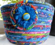 Hand Coiled Rope Basket Bowl Planter in Blue Multi by SallyManke